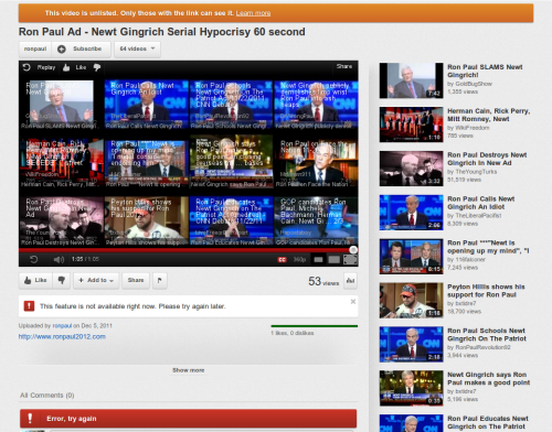 Ron Paul censored on YouTube